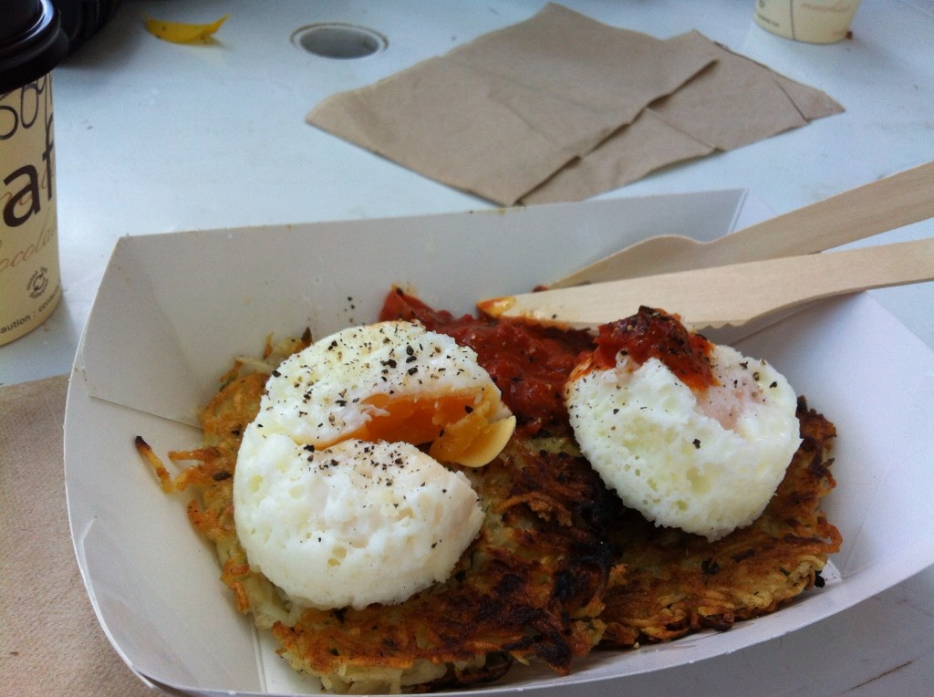 Amazing poached eggs, rosti and salsa