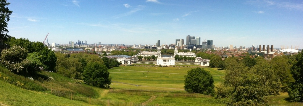 Panorama of London from Greenwich, England