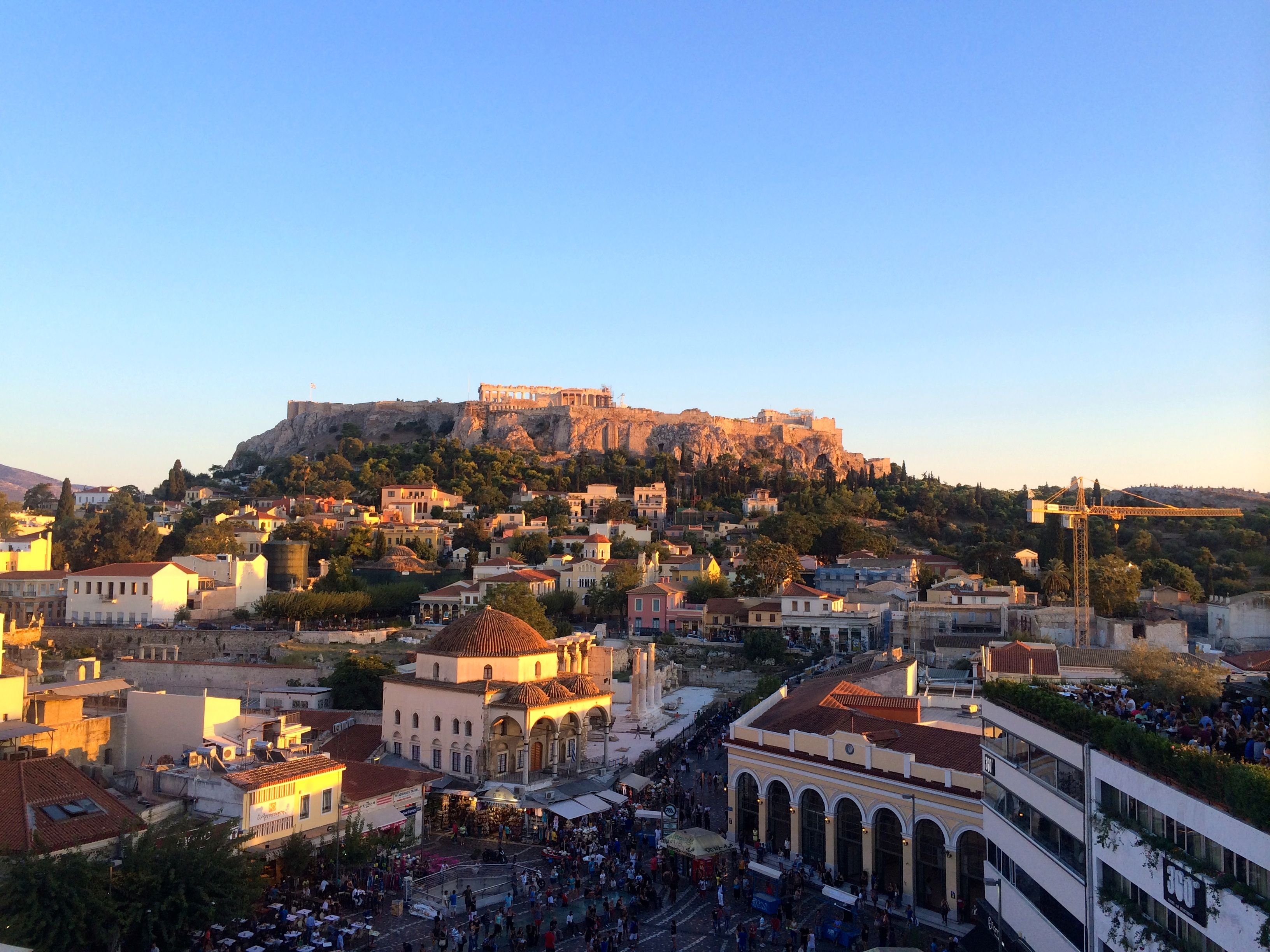 Rooftop Acropolis Sunset, Athens, Greece
